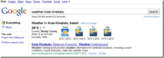 Google as weather forecast