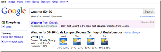 Google as weather forecast 2
